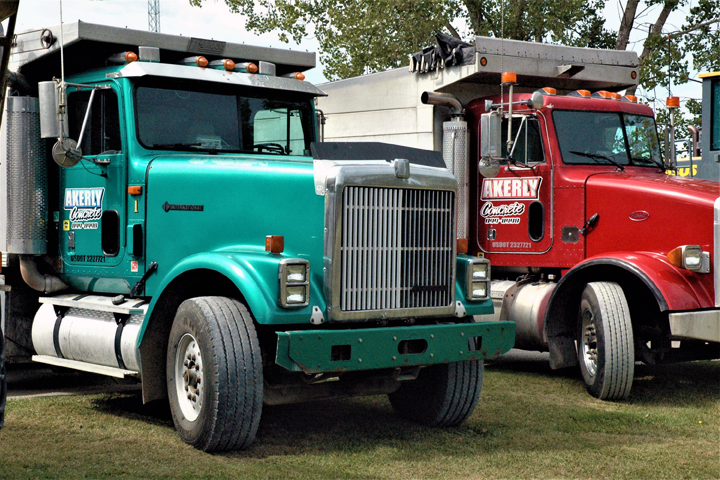 Image of Akerly Concrete, Inc. standard delivery trucks that are used in delivering concrete ready mix products to Erie, PA and the surrounding areas.